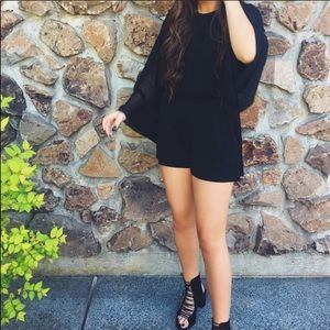 Topshop black romper long sleeve Flowy pockets